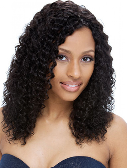 Without Bangs Black Curly Full Lace Shoulder Length Cheapest Remy Human Hair Wigs