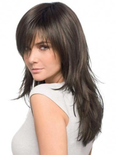 Brown Straight Cheapestest Remy Human Hair Wigs