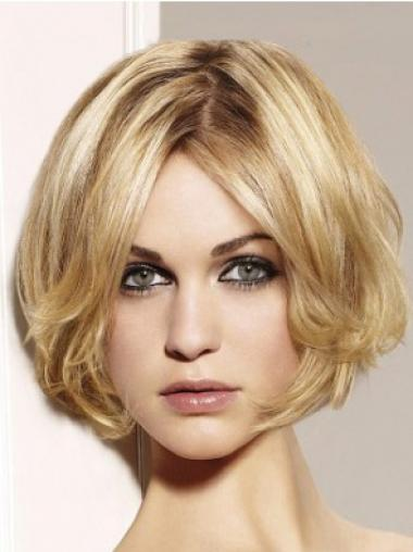 "Popular Blonde Lace Front Wavy 10"" Human Hair Wigs"