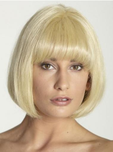 Blonde Full Lace Straight Medium Human Hair Wigs