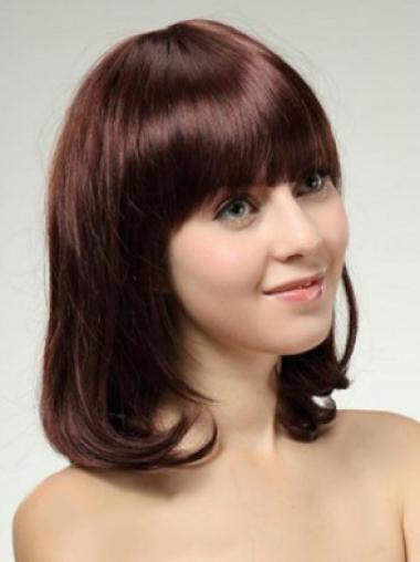 Affordable Auburn Capless Straight Medium Human Hair Wigs