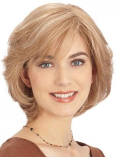 "Wonderful Blonde Monofilament Straight 10"" Human Hair Wigs"
