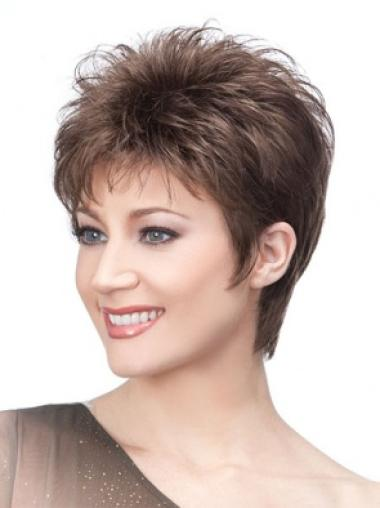 Ideal Capless Brown Straight Synthetic Short Wigs