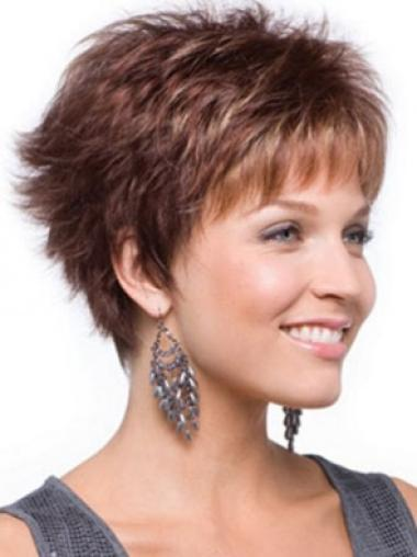 Auburn No-fuss Capless Wavy Synthetic Short Wigs