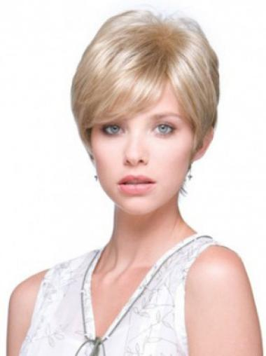 Blonde Cheap Monofilament Straight Synthetic Short Wigs