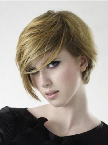 Straight Remy Human Hair Short Capless Blonde Beautiful Wigs