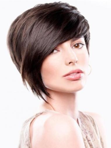 Straight Remy Human Hair Short Capless Brown Fabulous Wigs