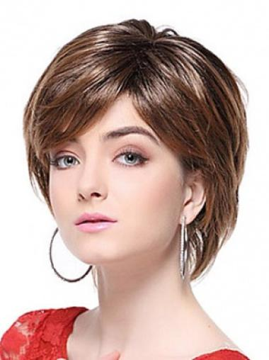 Straight Synthetic Short Capless Brown Classy Wigs