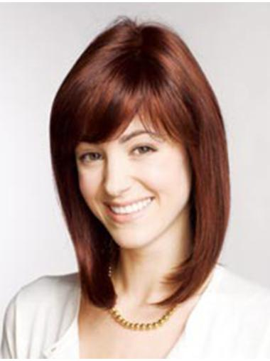 Auburn With Bangs Wigs For Women Straight