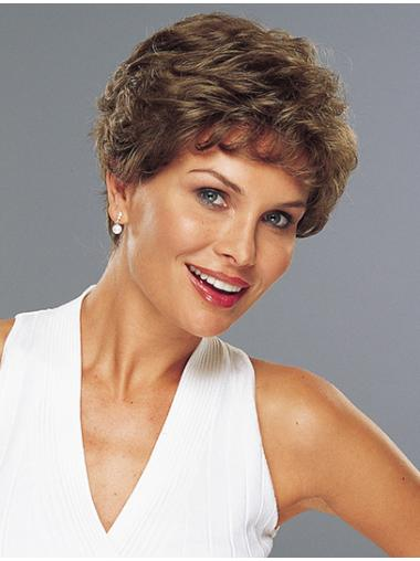 Brown Remy Human Hair 100% Hand-tied Wavy Sleek Classic Short Wigs