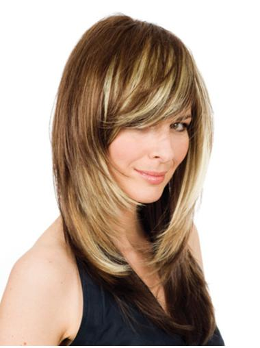 Blonde Remy Human Hair Lace Front Wavy Modern Layered Long Wigs