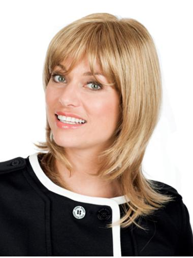 Blonde Remy Human Hair Full Lace Wavy Graceful With Bangs Medium Wigs