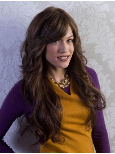 With Bangs Wavy Full Lace Brown Wigs