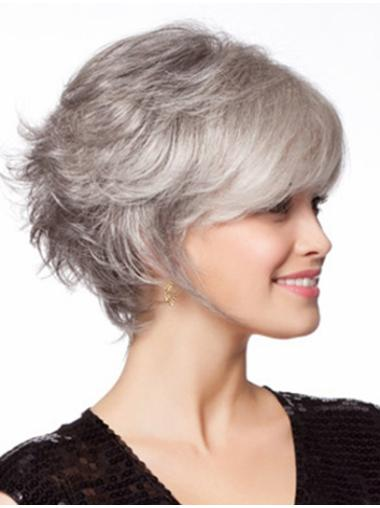 Wavy Chin Length  Grey Graceful Synthetic Wigs