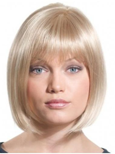 Bobs Blonde Straight Monofilament Chin Length Perfect Synthetic Wigs