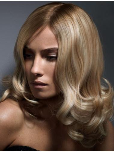 Without Bangs Blonde Wavy Lace Front Shoulder Length Flexibility Remy Human Hair Wigs