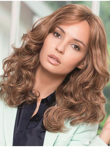 Without Bangs Brown Wavy Full Lace Long Graceful Remy Human Hair Wigs