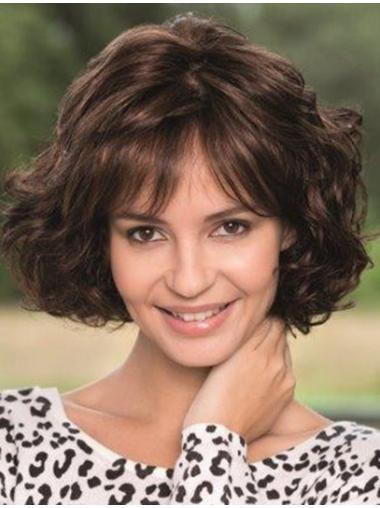 Bobs Brown Wavy Full Lace Chin Length High Quality Remy Human Hair Wigs