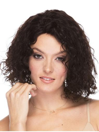 Curly Brown Without Bangs Human Hair Wigs