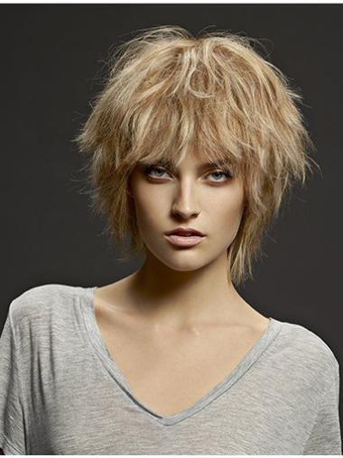 Layered Blonde Straight Fabulous Medium Wigs