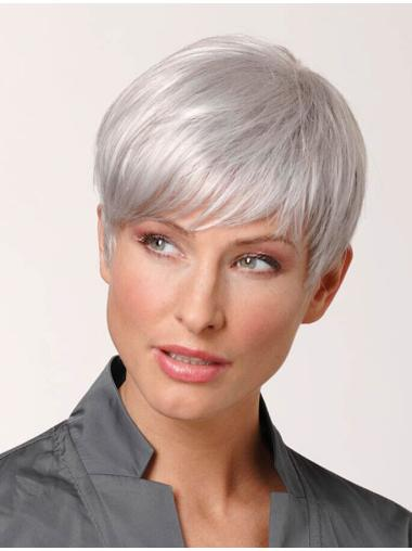 Style 100% Hand-tied Cropped Grey Wigs