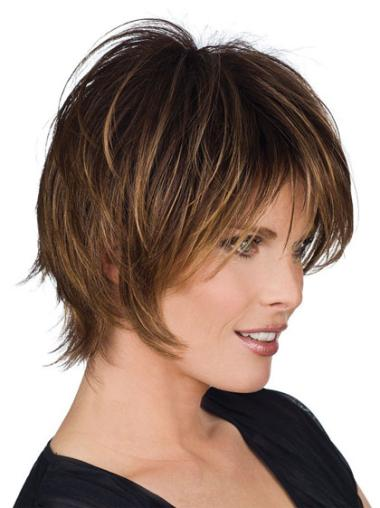 Brown Capless Straight Short Human Hair Wigs