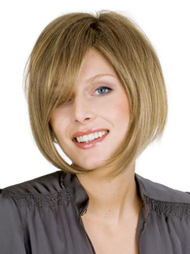 Suitable Blonde Full Lace Straight Medium Human Hair Wigs