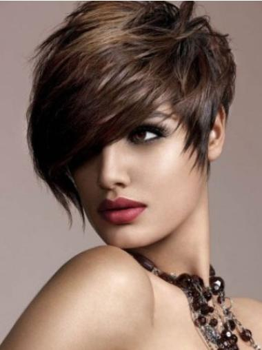 Modern Brown Capless Straight Short Human Hair Wigs