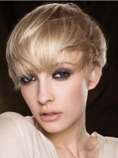 Cheapest Blonde Capless Straight Short Human Hair Wigs