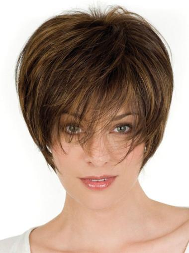 Brown Lace Front Straight Short Human Hair Wigs