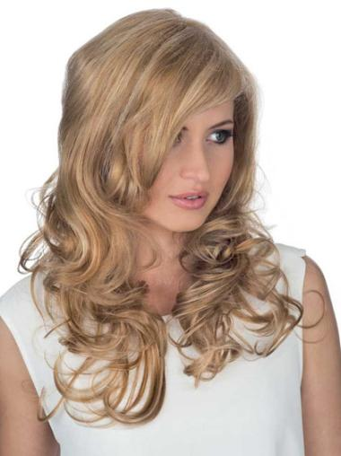 Blonde Lace Front Curly Long Human Hair Wigs