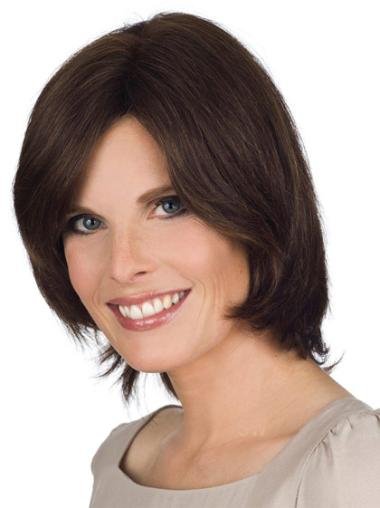"Incredible Brown Lace Front Straight 12"" Human Hair Wigs"