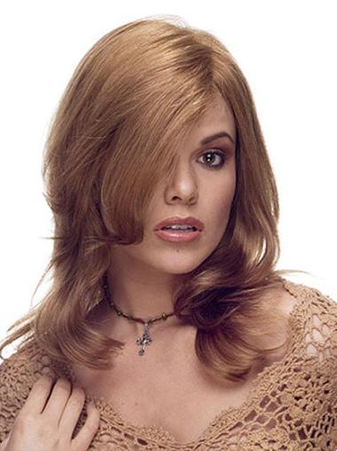 Great Brown Lace Front Wavy Long Human Hair Wigs