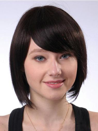 Soft Brown Capless Straight Medium Human Hair Wigs