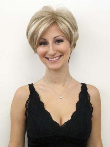 Affordable Blonde Lace Front Wavy Short Human Hair Wigs