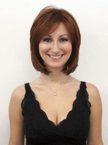 Durable Auburn Capless Straight Medium Human Hair Wigs