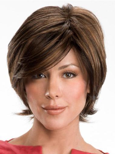 Online Brown Capless Wavy Short Human Hair Wigs