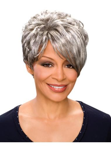 Short Wave Capless Grey Synthetic Grey Beautiful Wigs