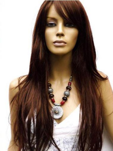 """Remy Human Hair 26"""" Auburn Lace Front Straight Wigs"""