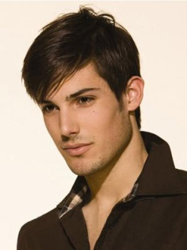 Remy Human Hair Brown Straight Lace Front Men Wigs