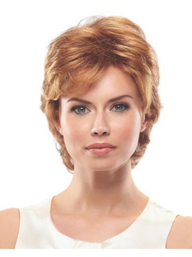 Beautiful Auburn Capless Wavy Synthetic Short Wigs