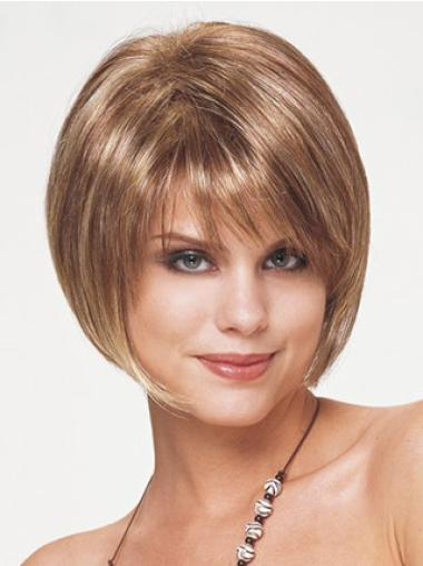 Modern Brown Capless Straight Synthetic Short Wigs