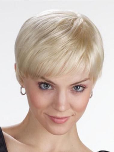 Modern Blonde Lace Front Straight Synthetic Short Wigs