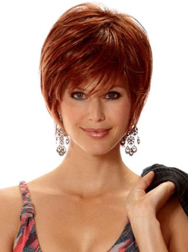New Fashion Auburn Capless Straight Synthetic Short Wigs