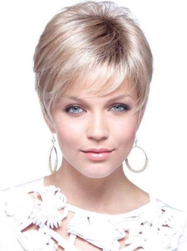 Affordable Blonde Capless Straight Synthetic Short Wigs
