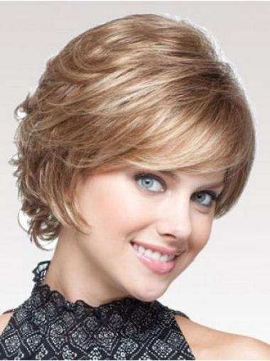 Soft Brown Capless Curly Synthetic Short Wigs