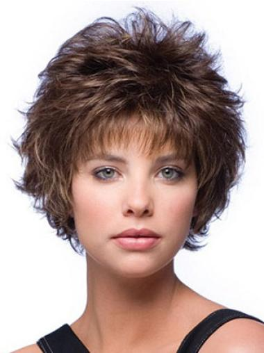 Classy Brown Capless Curly Synthetic Short Wigs
