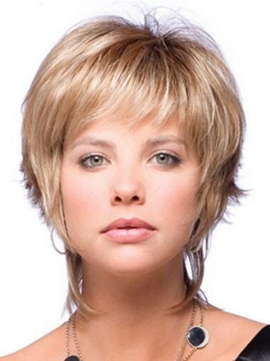 No-fuss Blonde Capless Straight Synthetic Short Wigs