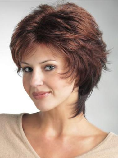 Comfortable Auburn Monofilament Straight Synthetic Short Wigs