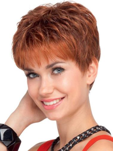 Modern Lace Front Red Wavy Remy Human Hair Short Wigs